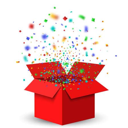 Open Red Gift Box and Confetti. Christmas Background.