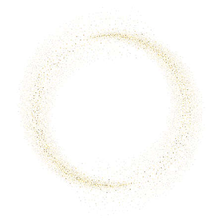 gold glitter circle abstract background, golden sparkles on white background, Gold glitter card design. Ilustração