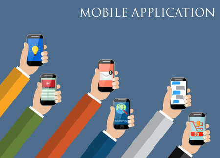 mobile phones: Business Mobile application concept. Hands holding phones with different application. vector illustration