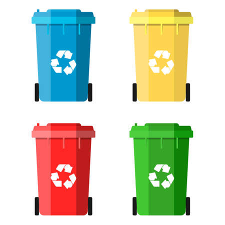 segregate: Set Recycle Bins for Trash and Garbage Isolated on White Background. Waste management concept. Vector illustration in flat design