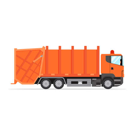 dump body: truck for assembling and transportation garbage. Garbage truck icon. Vector illustration in flat design Illustration