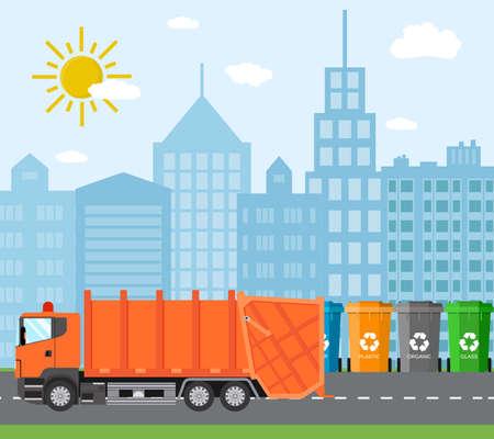 Città riciclaggio dei rifiuti concetto con camion della spazzatura. concetto di smaltimento dei rifiuti e tipi di ordinamento gestione. Illustrazione vettoriale in design piatto