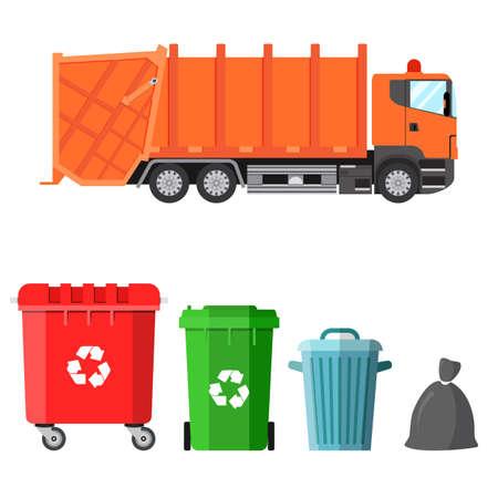 camion à ordures et quatre variantes de bennes à ordures dans un style plat. concept de gestion des déchets