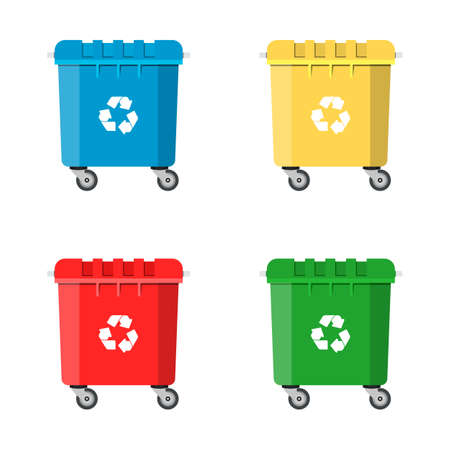 utilize: Set Recycle Bins for Trash and Garbage Isolated on White Background. Waste management concept. Vector illustration in flat design