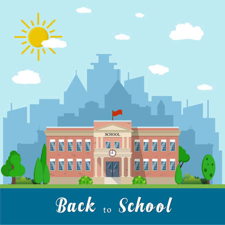 Welcome back to school. School building, front yard with students children with city landscape. Vector illustration in flat style Illustration