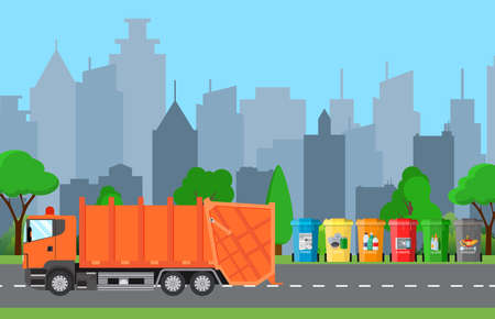 segregate: City waste recycling concept with garbage truck. concept waste disposal and types sorting management. Vector illustration in flat design
