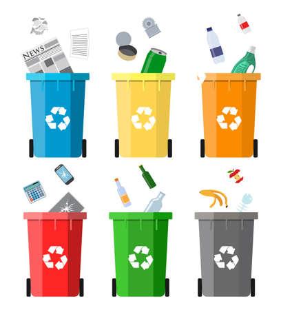 concepto de gestión de residuos. la separación de residuos. La separación de los residuos en los cubos de basura. Clasificación de residuos para su reciclaje. eliminación de residuos. cubos de basura de colores con la basura. Ilustración del vector en diseño plano