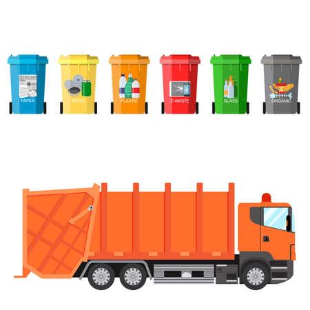 separacion de basura: Diferentes contenedores de residuos de reciclaje de colores y la ilustración vectorial camión de la basura, gestión de residuos concepto de separación de los residuos en los cubos de basura. Clasificación de residuos para el reciclaje de la ilustración del vector en diseño plano Vectores