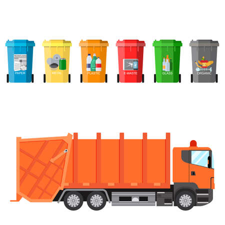 waste separation: Different colored recycle waste bins and garbage truck vector illustration, Waste management concept Separation of waste on garbage cans. Sorting waste for recycling Vector illustration in flat design