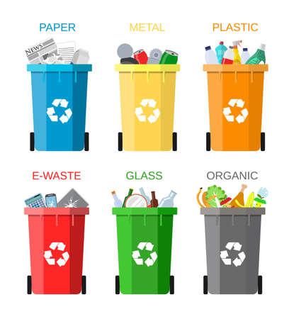 Abfallwirtschaftskonzept. Abfalltrennung. Die Trennung von Abfall auf Mülltonnen. Sortieren von Abfällen zur Verwertung. Entsorgung Abfall. Farbige Abfallbehälter mit Müll. Vektor-Illustration im flachen Design