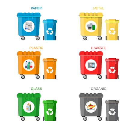 separacion de basura: concepto de gestión de residuos. la separación de residuos. La separación de los residuos en los cubos de basura. Clasificación de residuos para su reciclaje. eliminación de residuos. cubos de basura de colores con la basura. Ilustración del vector en diseño plano Vectores
