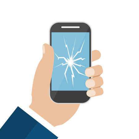 broken screen: Hand Holding Broken Screen Phone. Vector illustration in flat design