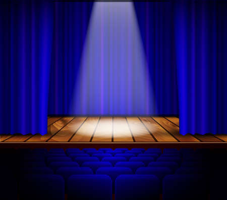 show window: A theater stage with a red curtain, seats and a spotlight. Vector.