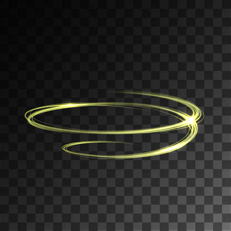 shutter speed: Neon blurry circles at motion . Abstract luminous rings slow shutter speed effect on transparent background. Bokeh glitter round shapes . Abstract lights at motion exposure time Illustration