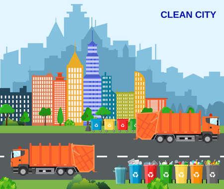 Città riciclaggio dei rifiuti concetto con camion della spazzatura. concetto di smaltimento dei rifiuti e tipi di ordinamento gestione. concetto di città pulita. Illustrazione vettoriale in design piatto Vettoriali