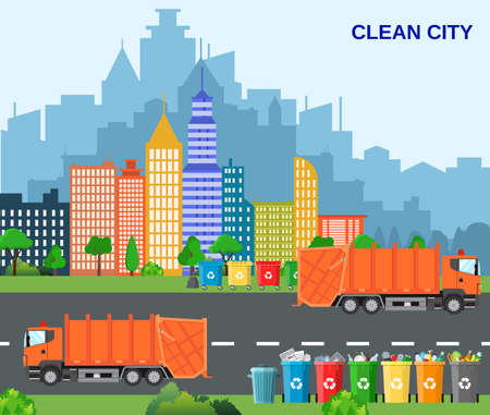 waste disposal: City waste recycling concept with garbage truck. concept waste disposal and types sorting management. concept clean city. Vector illustration in flat design
