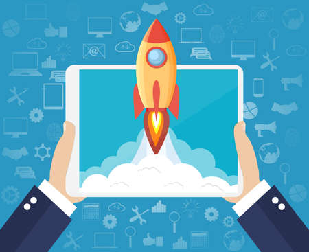 Successful startup business concept. Hands holding a tablet with Space rocket launch. Business Icons Pattern Blue Background. Vector illustration in flat style
