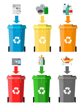 segregation: Waste management concept. Waste segregation. Separation of waste on garbage cans. Sorting waste for recycling. Disposal waste. Colored waste bins with trash. Vector illustration in flat design