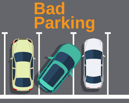 sturdy: Bad parking. Cars top view. Vector illustration in flat design