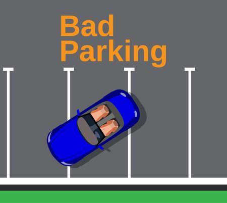 overlook: Bad parking. Cars top view. Vector illustration in flat design