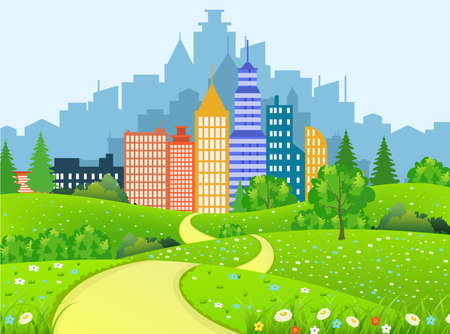 clouds scape: Green Vector illustration landscape with trees road and business city in flat design