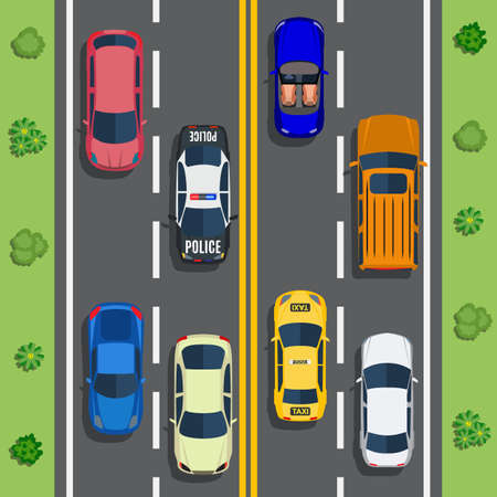 shrub: Highway traffic with top view cars and trucks on asphalt road. trees and shrub top view. Vector illustration in flat design Illustration