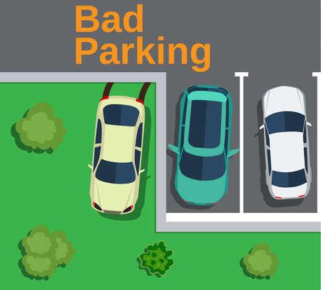 Bad parking. Vue de dessus d'une voiture garée sur la pelouse avec des arbres. Vector illustration design plat