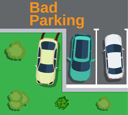 Bad parking. Top view of a car parked on the lawn with trees. Vector illustration in flat design Illustration
