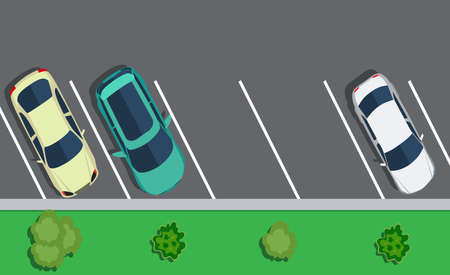 주차 주차, 상위 뷰에 주차 된 자동차 색깔. 2 개의 무료 장소. 플랫 디자인에서 벡터 일러스트 레이 션. 웹 디자인 또는 인쇄에 대 한 배경