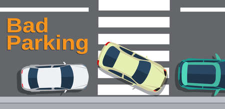 crosswalk: Bad parking. Car blocked the crosswalk and closed to pedestrians. Cars top view. Vector illustration in flat design Illustration