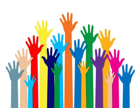 Gruppo di mani di diversi colori. diversità culturale ed etnica. illustrazione vettoriale in stile piatto su sfondo bianco