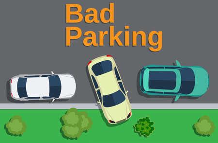 Bad parking. Vue de dessus d'une voiture garée sur la pelouse avec des arbres. Vector illustration design plat Vecteurs