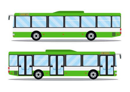 city transit shorter distance bus, side view, isolated. Vector icon illustration in flat design Stock Illustratie