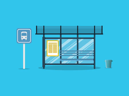 receptacle: Empty Bus Stop with bench and trash receptacle and bus stop sign. vector illustration in flat style on blue background