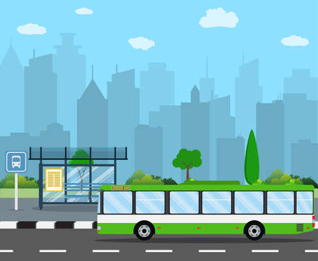 alight: bus stop with seats and green city bus with City Skyline. Vector illustration in flat design