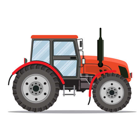 agronomics: Flat tractor on white background. Red tractor icon - vector illustration. Agricultural tractor - transport for farm in flat style.