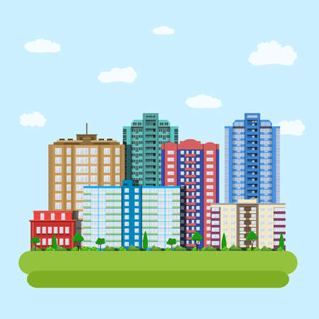 downtown: Modern city downtown green centre with tall buildings day skyline and clouds. Vector illustration in flat style
