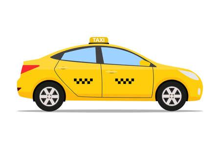 voiture de taxi jaune, icône de taxi, le concept de taxi d'appel, illustration vectorielle dans la conception simple plat isolé sur fond blanc