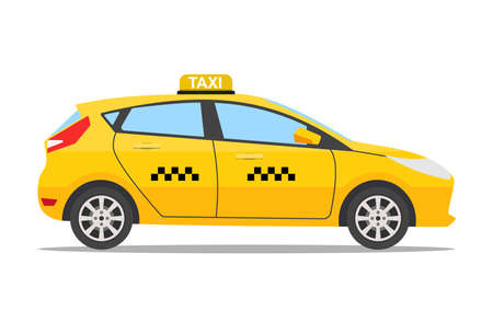 Yellow taxi car, taxi icon, call taxi concept, vector illustration in simple flat design isolated on white background Illustration