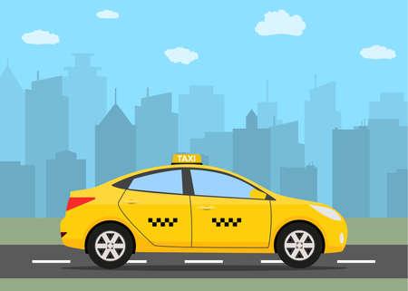 Żółty samochód taksówki przed sylweta miasta i niebo z chmurami, ikona taxi, taxi wezwanie koncepcji, ilustracji wektorowych w prostej płaskiej konstrukcji