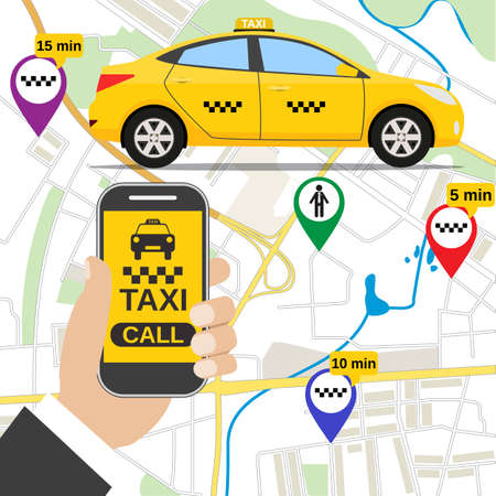 yellow cab: Smartphone with taxi service application on a screen, yellow cab, street map and location pointer on a background. vector illustration in flat design