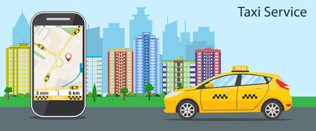 taxi cab, mobile phone with map and big city on background, taxi service concept. vector illustration in flat design