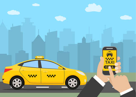 move controller: Phone with interface taxi on a screen on a background the city. Mobile app for booking service. vector illustration in simple flat design for business, info graphic, banner, presentations.