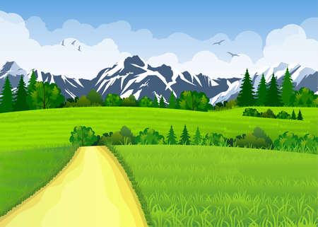 green road: Summer landscape with meadows and mountains. Road and the forest, nature landscape, vector background. vector illustration in flat design