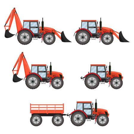 wheeled tractor: Tractor, excavator, bulldozer set. set icons red tractors isolated on white background. illustration in flat design