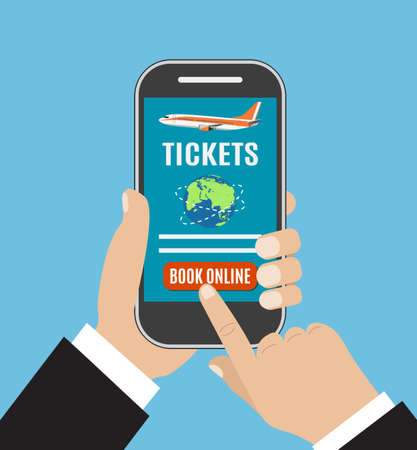 booking: Booking online flights travel or ticket. Human hand with mobile phone. Concept of online booking for airplane tickets.  illustration in flat design