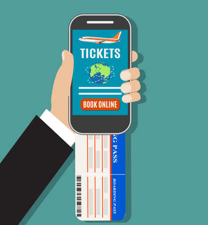travel phone: Booking online flights travel or ticket. Human hand with mobile phone. Concept of online booking for airplane tickets. illustration in flat design Illustration