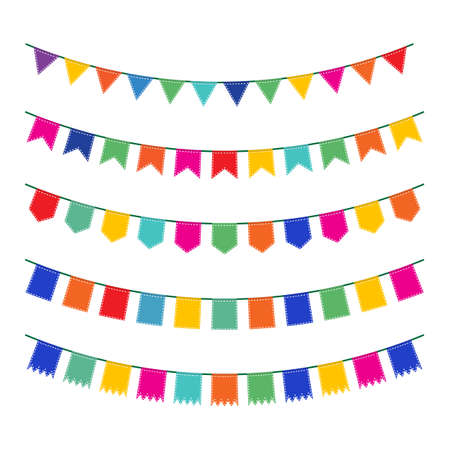 pennant bunting: Colorful pennant bunting collection with stitch lines isolated on white backgound in flat design. vector illustration Illustration