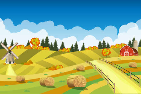 bale: Countryside landscape with haystacks on fields. Rural area landscape. Hay bales. Farm flat landscape. Organic food concept for any design Illustration