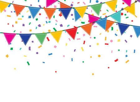Holiday background with Bunting and garland. Colorful festive flags and confetti Ilustracja